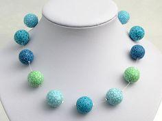 Wassertropfen handgefertigte Kette aus Polymer von polymerdesign