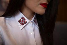 Camasa alba cu detalii traditionale | Sandra Bendre