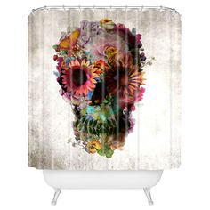 Buy Shower Curtain with Gardening Floral Skull designed by Ali Gulec. One of many amazing home décor accessories items available at Deny Designs. Curtain Patterns, Textile Patterns, Print Patterns, Skull Shower Curtain, Shower Curtain Rods, Shower Curtains, Floral Skull, Shower Liner, Floral Sleeve