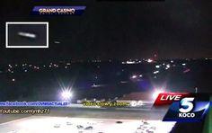 Oklahoma (EUA): UFO em Forma de charuto Aparece durante o Noticiário do Canal Koco