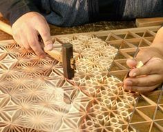 """""""Kumiko"""" woodwork technique was developed in Japan (Image: Woodpeckercarve @ FB)"""