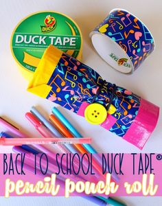 Back to School Duck Tape® Pencil Pouch Roll #ad #DuckToSchool @theduckbrand