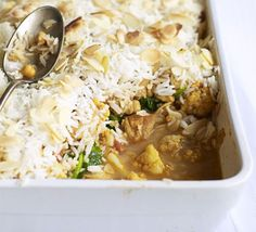 BBC GOOD FOOD - Chicken Biryani Bake: Keep this biryani bake in the freezer for an easy midweek health kick Bbc Good Food Recipes, Indian Food Recipes, Dinner Recipes, Cooking Recipes, Healthy Recipes, Healthy Food, Couscous Quinoa, Freezer Meals, Freezable Dinners