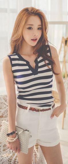 Luxe Asian Women Design Korean Model Fashion Style Daily Stripe Navy Top