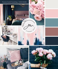 Brand board for business consulting Blue And Pink Living Room, Navy Blue Bedrooms, Pink Room, Blue Rooms, Navy Blue Bedding, Bedroom Color Schemes, Bedroom Colors, Teal Bedroom Decor, Shabby Bedroom