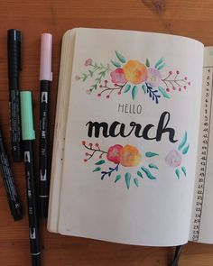 #illustration #art #march #hellomarch #pleasegoawayimintroverting #bulletjournal #bujo #tombow #fabercastell #flowers #handlettering #aquarelle #watercolor #spring #hellospring #märz #brushlettering