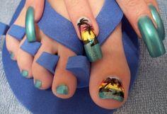 beach themed airbrush nail designs ideas