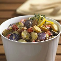 This roasted fingerling potato salad with lemon and thyme will quickly become one of your summertime favorites! .