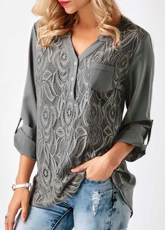 Women S V Neck Grey Solid Loose Casual Cuffed Long Sleeve Lace Panel Blouses  Lace Panel Split Neck Roll Tab Sleeve Blouse 354871aebd5e