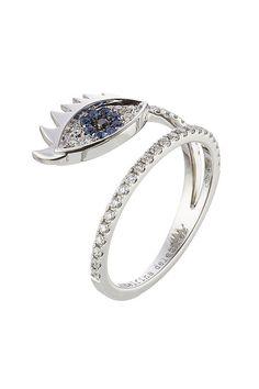 18kt White Gold Ring with Diamonds and Sapphires | Delfina Delettrez