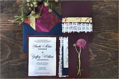 dark purple wedding invitations
