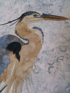 Close up of Blue Heron quilt