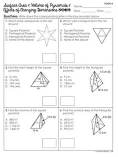 Surface Area and Volume of Pyramids Unit Area Worksheets, Geometry Worksheets, 7th Grade Math, Eighth Grade, Classroom Posters, Math Classroom, Teaching Geometry, Education Information, Secondary Math