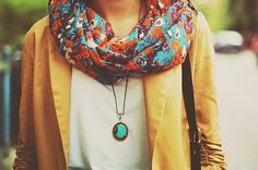 Yellow blazer! The pendant! The scarf! What a great ensemble.