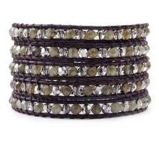 Labradorite and Crystal Satin Wrap Bracelet on Natural Dark Brown Leather