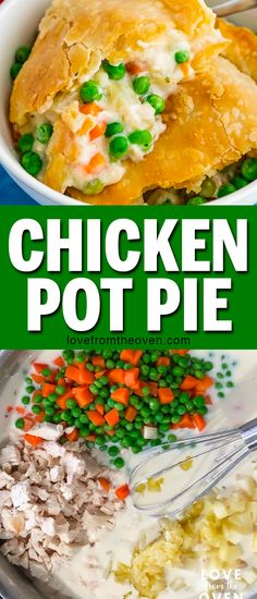 This Chicken Pot Pie is my family's favorite dinner recipe! Such great comfort food, love this on a cold night! Easy to make, doesn't take that long, great as leftovers. #chickenpotpie #chickenrecipes #casserole #dinner #easydinner #dinnerrecipes #familydinner #lftorecipes