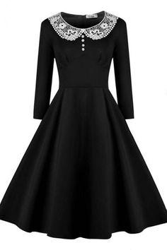 Black Collar Big Pendulum Solid Cap Sleeves 1950s Vintage Dress