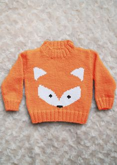 Intarsia - Fox Face Chart & Childrens Sweater Knitting pattern by Instarsia Intarsia - Fox Face Chart & Childrens Sweater Baby Boy Knitting Patterns, Jumper Knitting Pattern, Baby Sweater Patterns, Knitting For Kids, Baby Patterns, Baby Boy Sweater, Knit Baby Sweaters, Pixel Crochet Blanket, Crochet Blankets