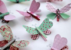 These are decorated for Valentines but you can use differen… Cute Butterfly Pins. These are decorated for Valentines but you can use different papers w/o the hearts. So Springy, too! Kids Crafts, Diy And Crafts, Craft Projects, Arts And Crafts, Paper Crafts, Clothespin Crafts, Cute Butterfly, Butterfly Pattern, Butterfly Birthday
