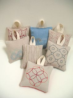 Embroidered Lavender Sachets by bluepeninsula, via Flickr