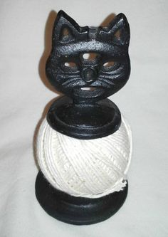RARE Vintage Cast Iron Look Repro Black Cat General Store Twine String Holder |