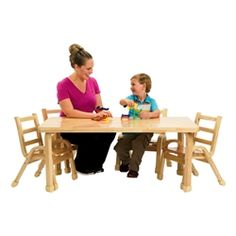 """Angeles Corporation Natural Wood Table & Chair Set (30"""" W x 48"""" L x 20"""" H) https://www.schooloutfitters.com/catalog/product_info/pfam_id/PFAM36151/products_id/PRO47601"""