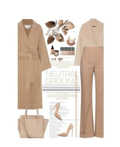 """Cool Neutrals"" by amimcqueen ❤ liked on Polyvore featuring Loewe, The Row, Nina Ricci, Salvatore Ferragamo, Bobbi Brown Cosmetics, NARS Cosmetics, Christian Louboutin, Carolee and Miss Selfridge"