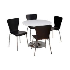 Hillsboro Dining Set White/Black 5 Piece ($460) ❤ liked on Polyvore featuring home, furniture, black, bentwood furniture, 5 piece dining sets, white dining set, black furniture and white table and chairs