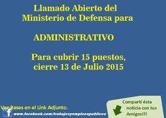 Trabajo en Uruguay: LLAMADO ABIERTO DEL MINISTERIO DE DEFENSA PARA ADMINISTRATIVOS
