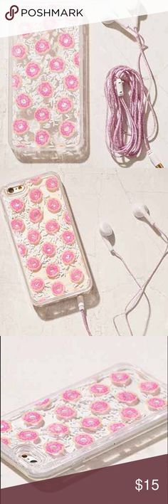 Great Gift Set for iPhone 6/6S Don't forget to dress up your phone! You know it'll be your companion no matter where you go on spring break or what Festival you are attending! This cute plastic case in a fun donut print we love with matching headphones! Super cute encased sprinkles inside case make it an ever changing design!  Content + Care - Plastic - Wipe clean - Made in the USA  Size - Fits iPhone 6/6s Urban Outfitters Accessories Phone Cases