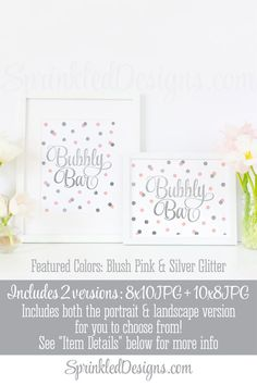 Bubbly Bar Sign - Blush Pink Gray Silver Glitter Brunch & Bubbly Bridal Shower Decor, Sip and See Decor Printable 8x10 Champagne Bar Sign