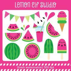 Fresh Watermelon-Digital Clipart (LES.CL29B) – Lemon Elf Studio