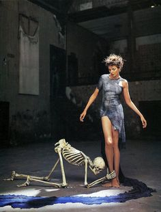 nadja Auermann by richard avedon 1995 - dress by Alexander McQueen