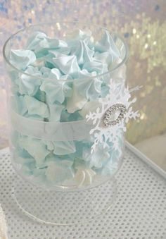 Elegant Frozen themed birthday party with SUCH DARLING IDEAS via Kara's Party Ideas | KarasPartyIdeas.com! Invitations, printables, favors, ...