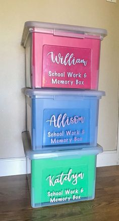 Are you not sure what to do with all of that school and artwork your kids bring home? Learn how to make your own school memory boxes. It's easier than you think to organize your kid's school and artwork! #cricut #cricutprojects #vinylprojects #schoolmemoryboxes
