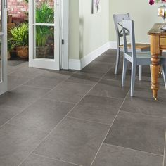 A true welsh slate by colour and design, Corris takes its inspiration from an original piece of slate recovered from Braichgoch Slate Mine, based in Corris Uchaf, north Wales. This textured slate will charm any space with its cool and ambient light grey tones for a clean and fresh feel.✨ Polished Concrete Flooring, Natural Flooring, Slate Flooring, Vinyl Flooring, Flooring Ideas, Floor Design, Tile Design, Floor Art, Tile Floor