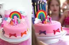 Love the clouds and how simple this My LIttle Pony birthday cake is.