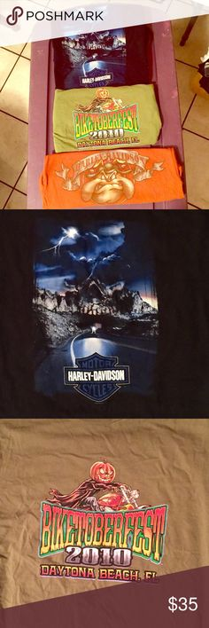 "❤️PRICE DROP❤️ 3 Men's Harley-Davidson T-Shirts (1) Men's 18th Annual Daytona Beach, FL 2010 Biketoberfest Army green T-Shirt w/ Halloween Decor. 1 Men's Black Space Coast Harley, Melbourne, FL w/ a Beautiful skull mountain scene in front & Blue Grey & white Harley Emblem on the back. 1 Men's Rust Orange/Brown Looney Tunes Harley Davidson T-Shirt w/ ""Spike"" & Harley logo on front & ""Wiley Coyote"", ""Taz"", ""Yosemite Sam"" & Harley Davison, Melbourne, FL logo on the back. Price is negotiable…"
