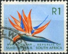 Stamp: Strelitzia (South Africa) (Definitive Issue - Decimal Issue) Mi:ZA 374 Union Of South Africa, Vacation Scrapbook, Postage Stamp Art, Vintage Stamps, My Land, African History, Stamp Collecting, Flower Stamp, Mailbox