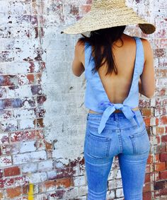 The Penny Tie Top Linen Backless Crop Top High Neck Pale