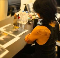 Form @VAMPS_JPN tweet: Hyde checking latest design for a curent project, cant wait for the announcement soon!