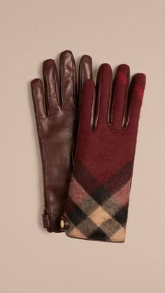 Claret Leather and Check Cashmere Gloves 1
