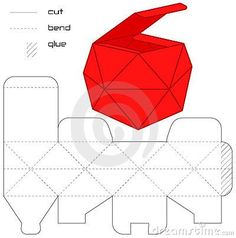 Template Present box red cut square casket