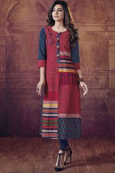 Picture of Patterned red & blue printed long kurti Kurti Neck Designs, Kurti Designs Party Wear, Blouse Designs, Kurti Patterns, Dress Patterns, Stylish Kurtis, Pakistani Dress Design, Indian Designer Wear, Indian Dresses