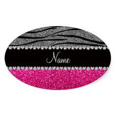 Custom name pink glitter light gray zebra stripes oval stickers