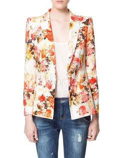 Stylish Jacquard Floral Print Shaping Notch Collar Blazer For Women