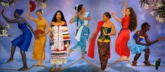 Various races of Surinamese people wearing their traditional costumes