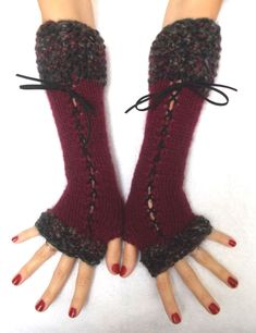 Loom Knitting, Hand Knitting, Glove Liners, Red Burgundy, Dark Red, A Line Prom Dresses, Wrist Warmers, Alpaca Wool, Victorian Fashion