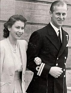 Queen Elizabeth II and Prince Philip, Duke of Edinburgh, on the day of their engagement. Elizabeth and Philip