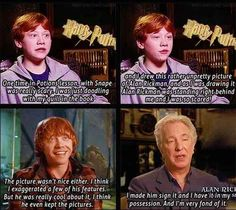 """When Rupert was actually goofing off in class. RIP Alan Rickman, you have and will forever be one of the most influential actors. When my children see me crying on this exact day 25 years from now and ask, """"After all this time?"""" I will answer simply by saying """"Always."""""""